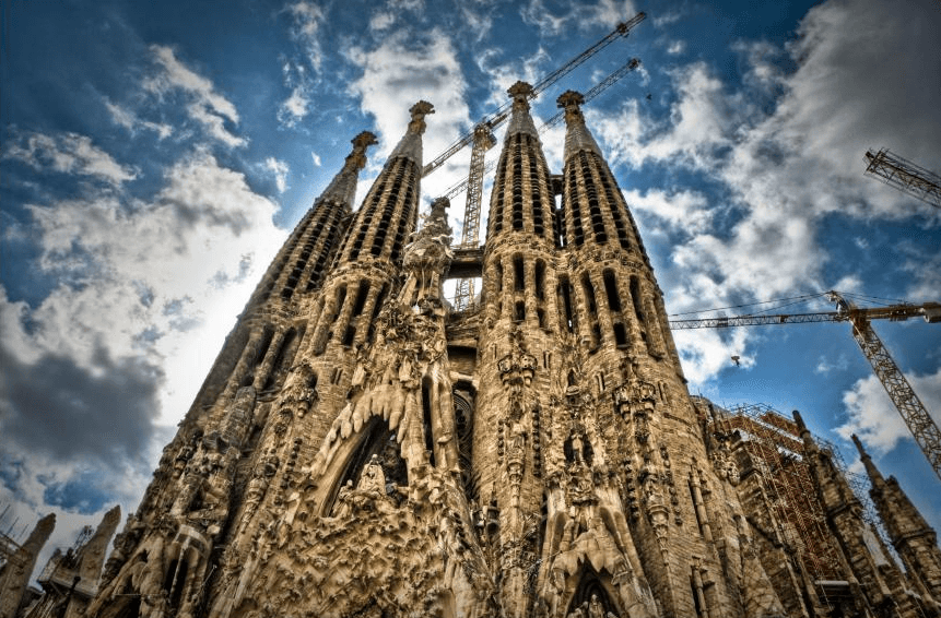 Exterior of Sagrada Familia in Barcelona