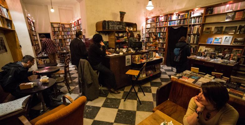 Inside Massolit book café in Budapest
