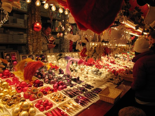 A typical Christmas market stall selling confectionery and sweets