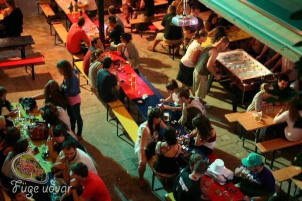 people enjoying ruin bar in Budapest