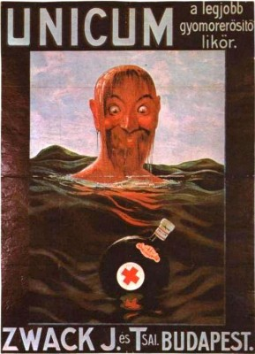 Vintage advert poster for Unicum Hungary man at sea