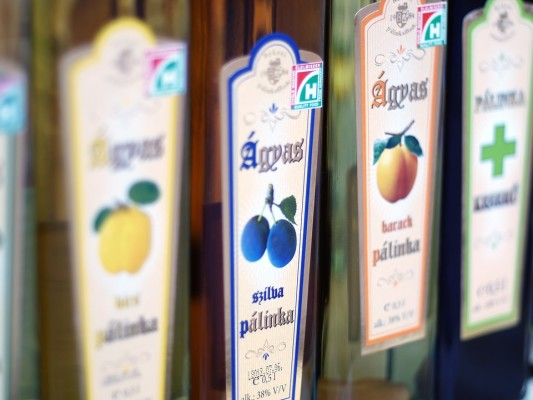 different fruit flavours of Palinka