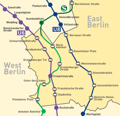A map depicting Berlin ghost stations from the cold war era