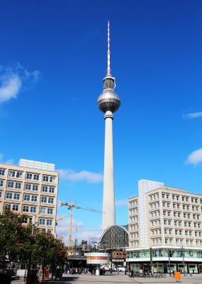The tall TV tower in Berlin from a distance as seen on cold war Berlin free walking tour