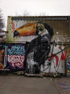 Trash Art urban art in Berlin. The Tucan by Bordalo II