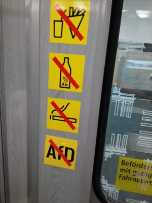 stickers on public transport in Berlin banning AFD party ideology