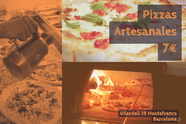 Three image collage of pizza prep, cooking, and cooked from La pizza del Sortidor in barcelona