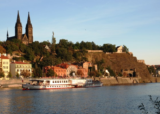 View of Parník Vyšehrad castle from the Vlata river on a Prague city tour
