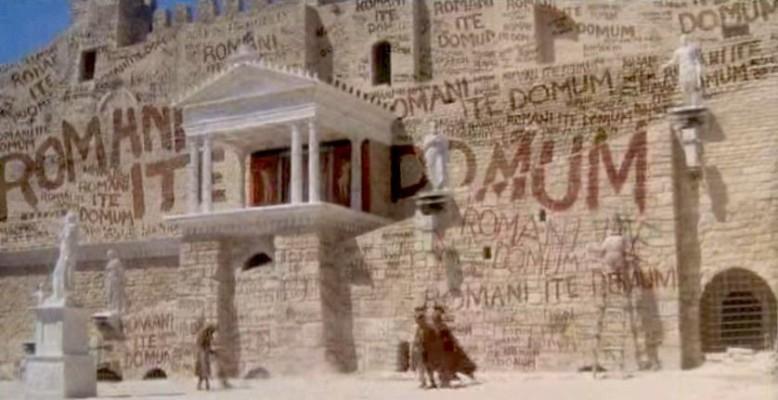 Graffiti scene from Lif of Brian - Romanes eunt domus