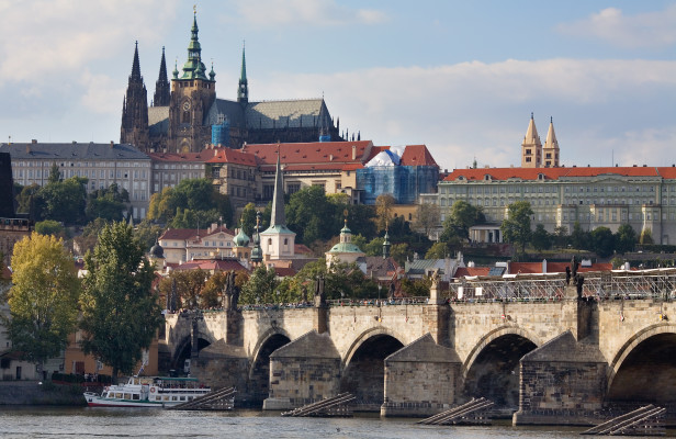 View of Charles Bridge and Prague Castle complex on the Prague Castle free walking tour