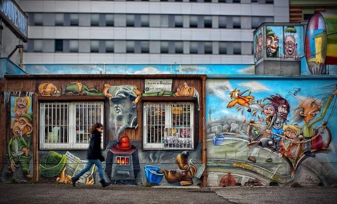 a section from East side gallery Urban street art in Berlin