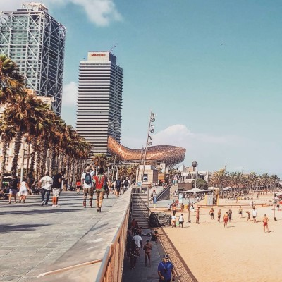 Summer's day scene at busy Barcelona beach