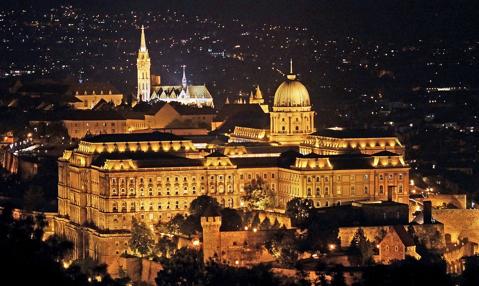 Royal Palace and Matthias Church in romantic Budapest illuminated at night