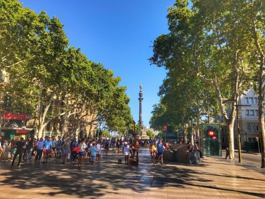 Bright day time scene on Las Ramblas Barcelona free walking tour