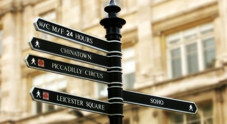 sign post showing the way to different parts of London City