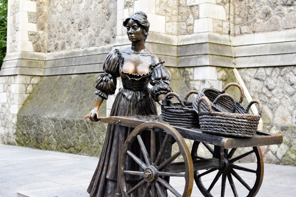 the Molly Malone Statue in Dublin city as seen on our free walking tour of Dublin