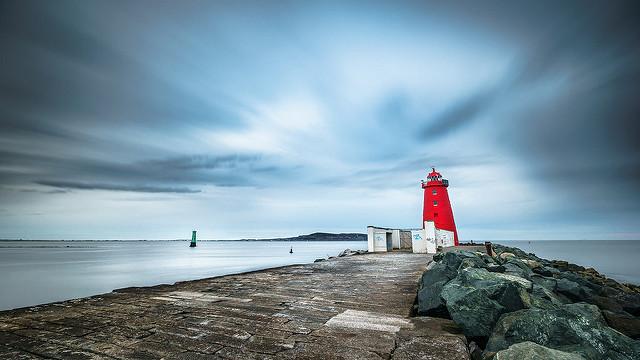 poolbeg lighthouse Dublin at dusk