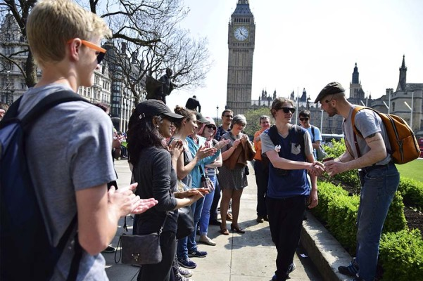 free tour guide in London with group at the end of the city tour