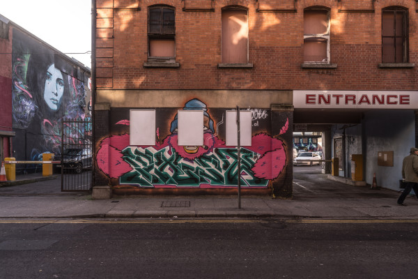 Urban street art and graffiti at the Tivoli theatre car park in Dublin