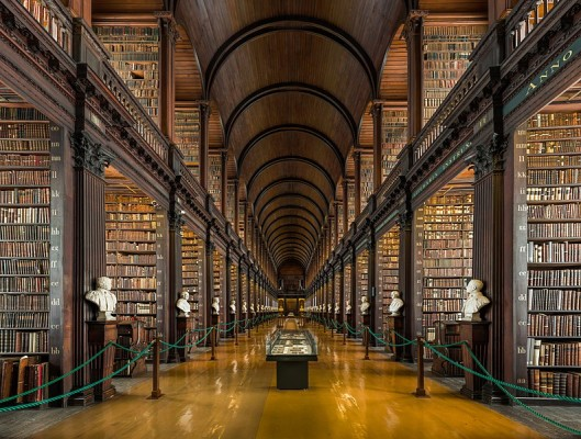 The long room library in trinity College Dublin where the book of Kells resides.