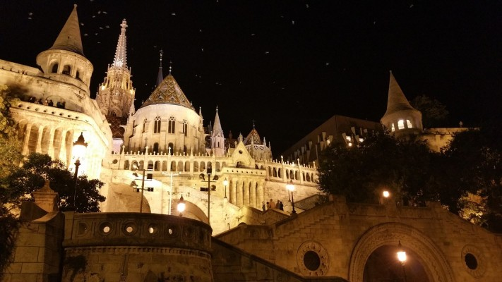 A view of illuminated Fisherman's Bastion in Budapest at night