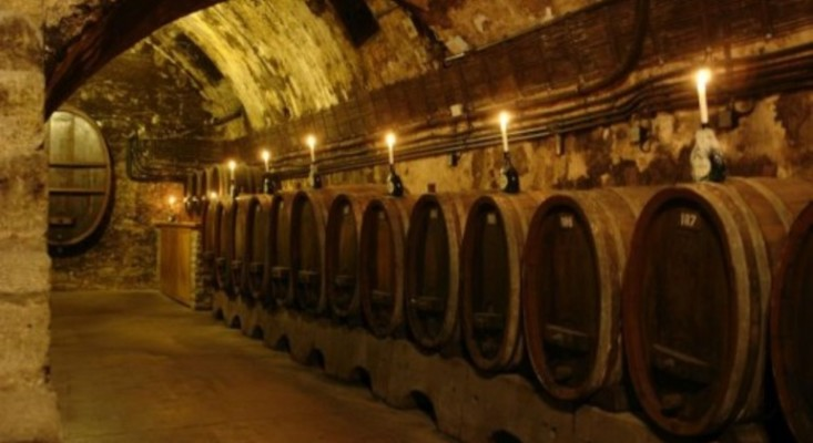 A rustic candle-lit wine cellar with 12 different wooden casks of Wine in a row