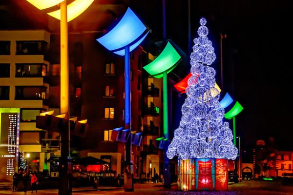Multicoloured festive lights and christmas tree in Dublin city, Ireland