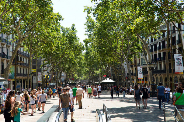 The bustling Las Ramblas street in Barcelona with tourists