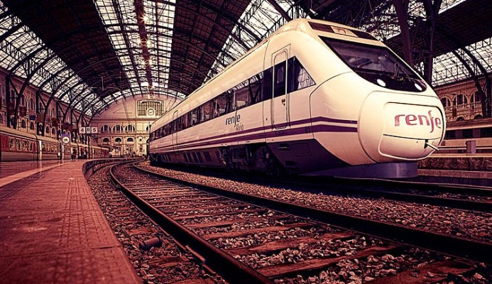 stationary RENF Train in Barcelona central station