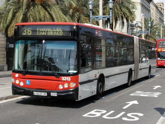 A city bus in service in Barcelona