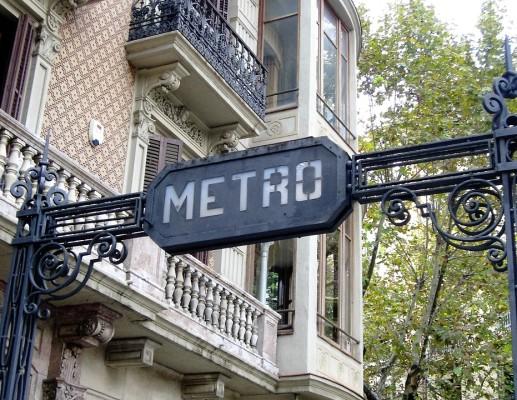 Underground-Metro station sign on street level in Barcelona