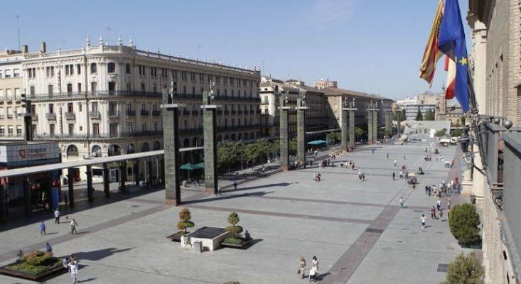 Elevated view over main square in Zaragoza, Spain