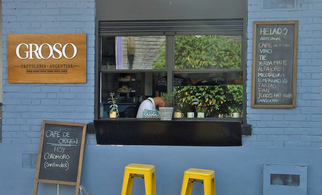 Blue exterior of a cafe in Bogotá, Colombia