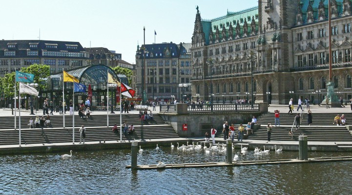 City hall and waterfront in Old town of Hamburg, Germany, a weekend trip destination near Berlin
