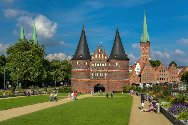 The Holstentor gate and passageway in Lübeck, a weekend trip destination from Berlin