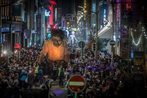 Ghoulish giant monters parade through crowded Dublin street, Ireland