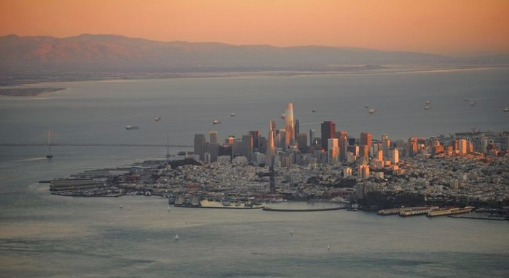 View of San Francisco bay at dusk