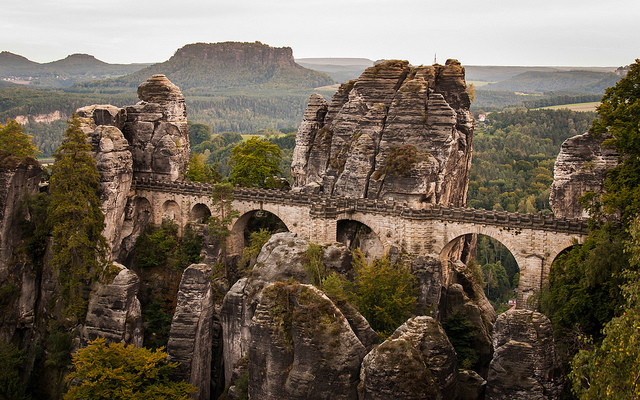 Sandstone bridge in Saxon Switzerland National Park, a weekend destination from Berlin, Germany