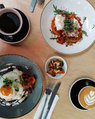 Coffees and brunch from Urbanity in Smithfield, Dublin, Ireland