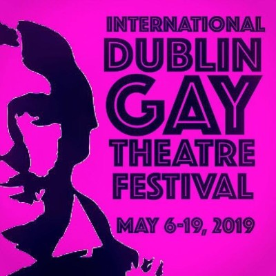 Silhouette of Oscar Wilde in purple colour and information about Dublin Gay Theatre Festival in Dublin 2019