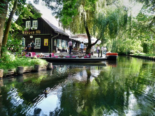 Cafe restaurant on the canal bank in Spreewald, Brandenburg, outside of Berlin, Germany