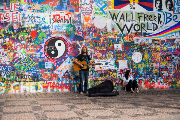 John Lennon Wall. Source: Flickr - Roman Boed [CC BY-SA 2.0 (https://creativecommons.org/licenses/by-sa/2.0/)]