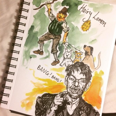 depiction of Bang bang and the hairy Lemon by a guest on the free fables & folkore mythology tour in Dublin