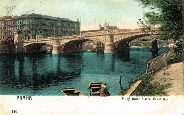 A traditional Prague souvenir postcard depicting Charles bridge and river scene