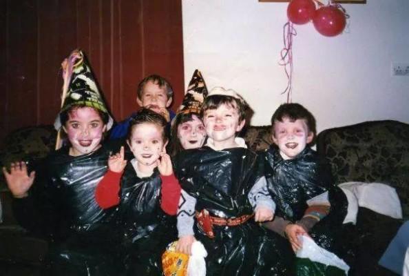 Irish kids in the 90s dressed in black bin bags for Halloween