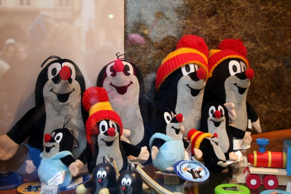 A souvenir shop window in Prague displaying severl little mole plush toys