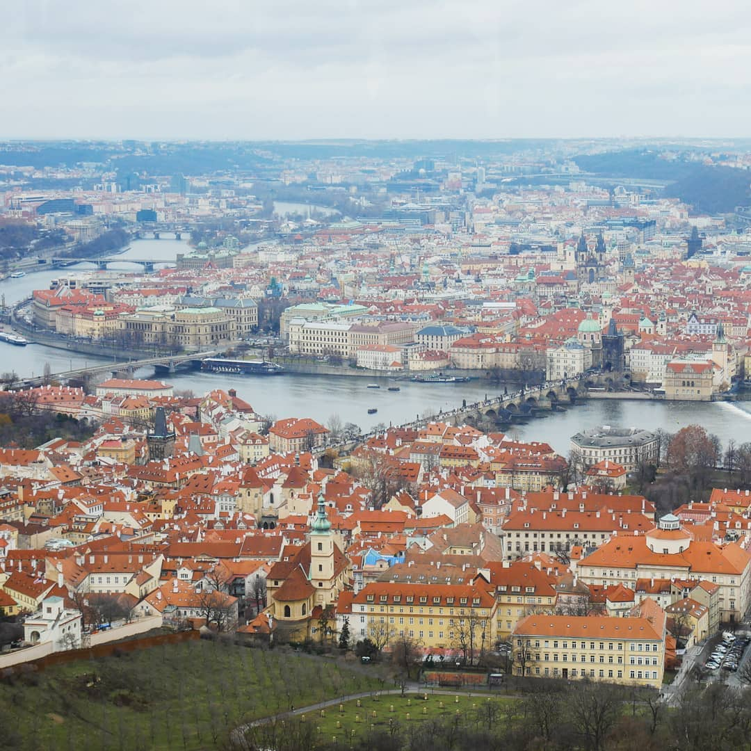 a panoramic view over Prague in winter