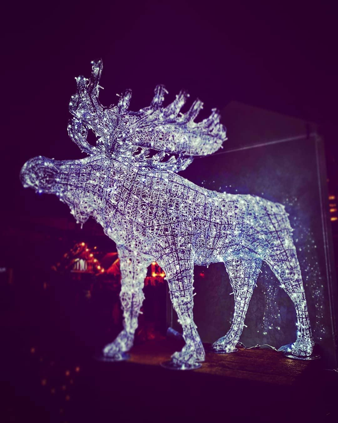 a structure of christmas lights in the shape of an elk at the lucia christmas market in Berlin