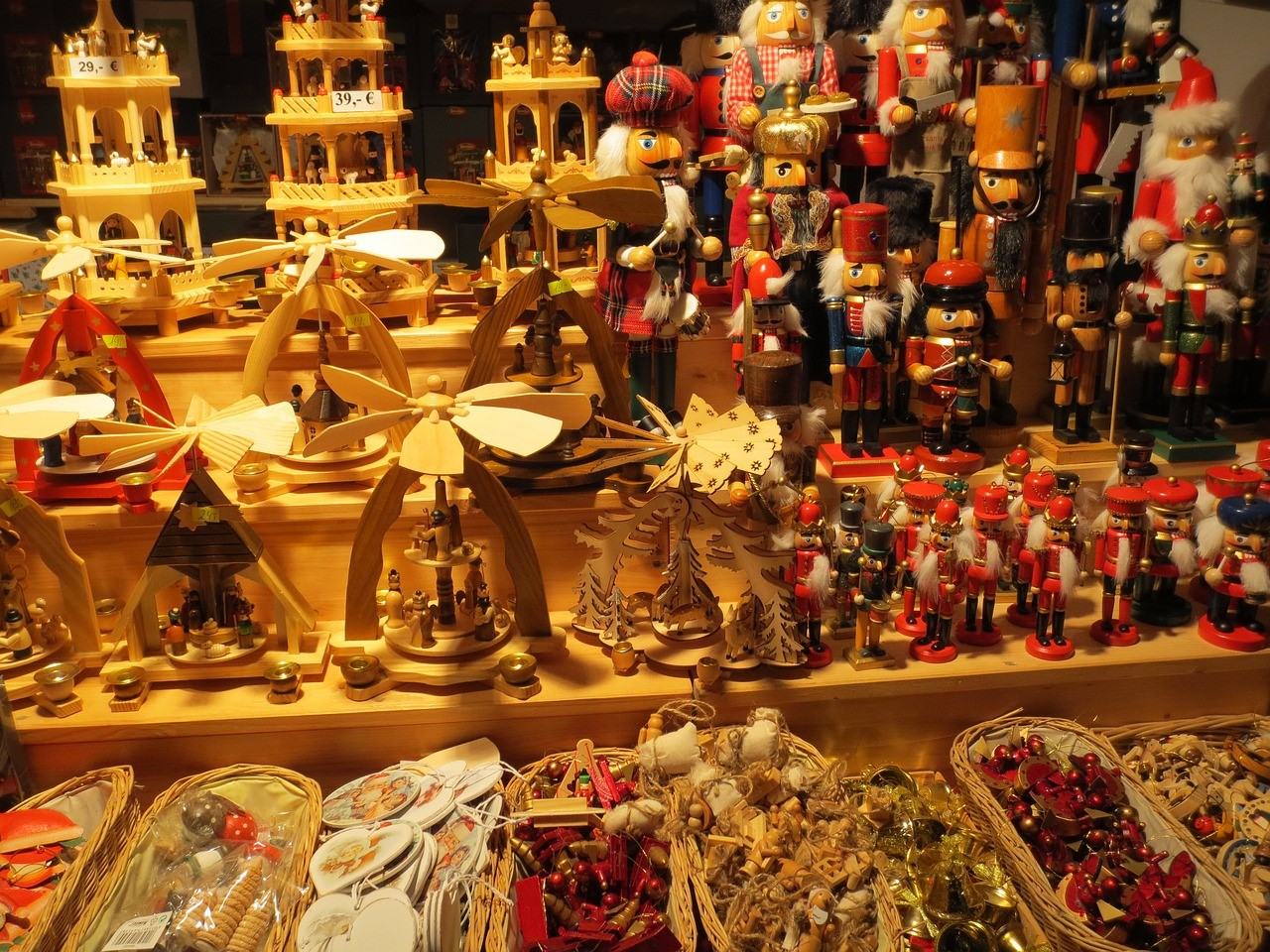 traditional Berin Christmas market stalls with wooden crafts