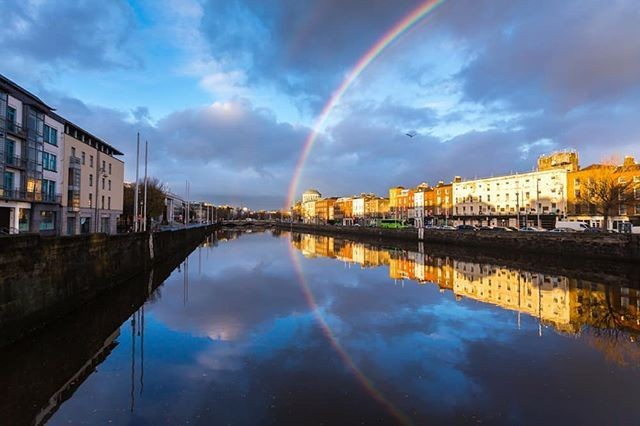 A rainbow in Dublin beside the Liffey